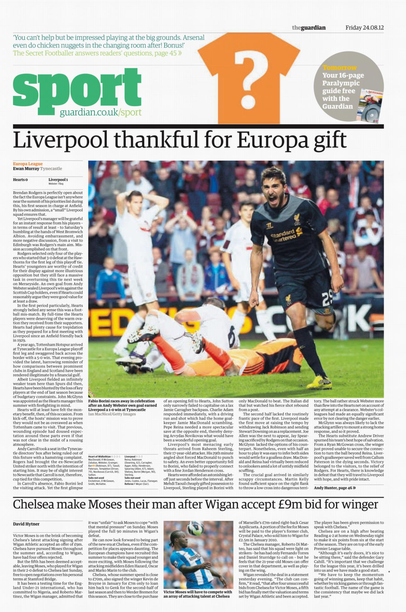 The Guardian - Hearts v Liverpool