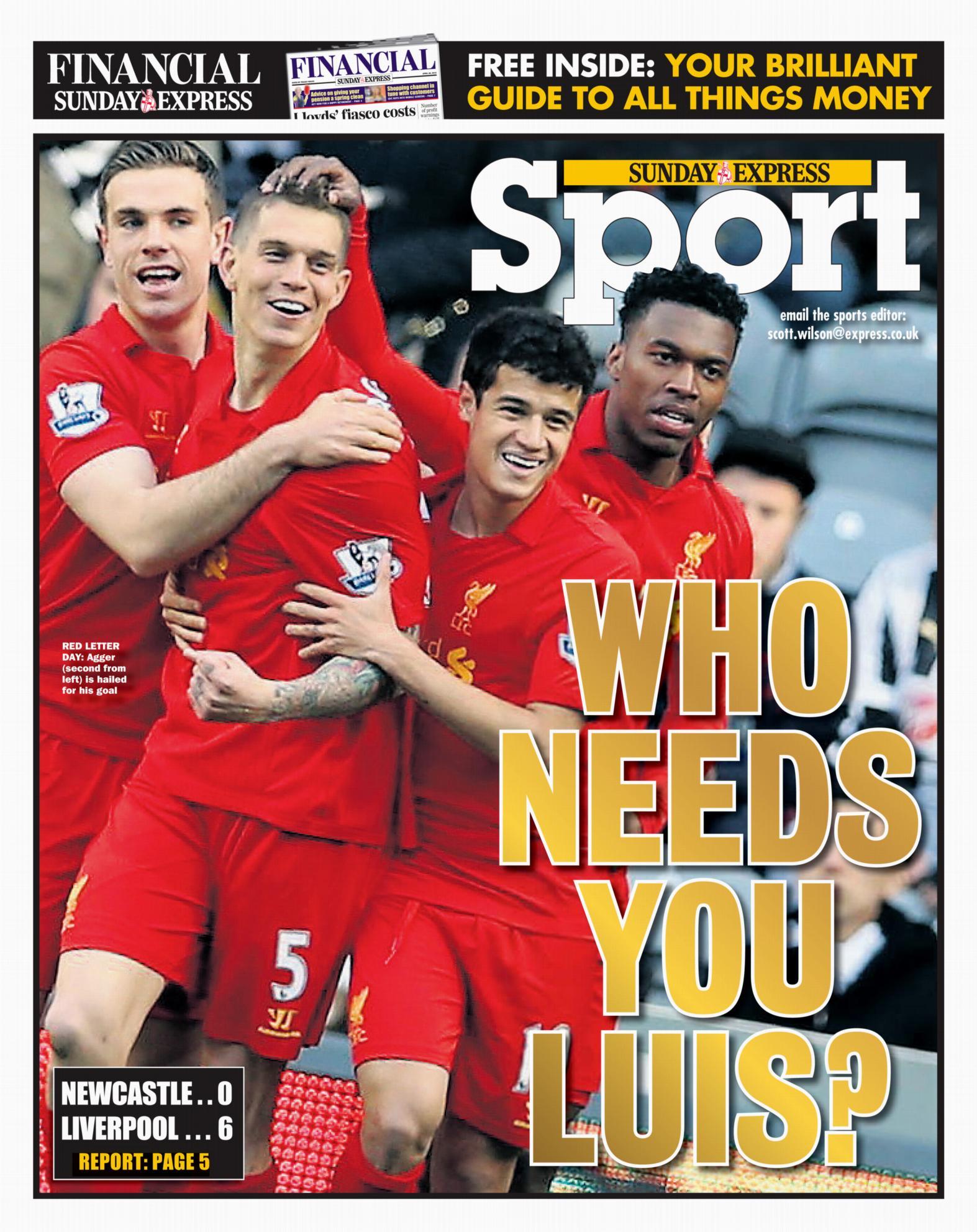 Sunday Express - Newcastle v Liverpool