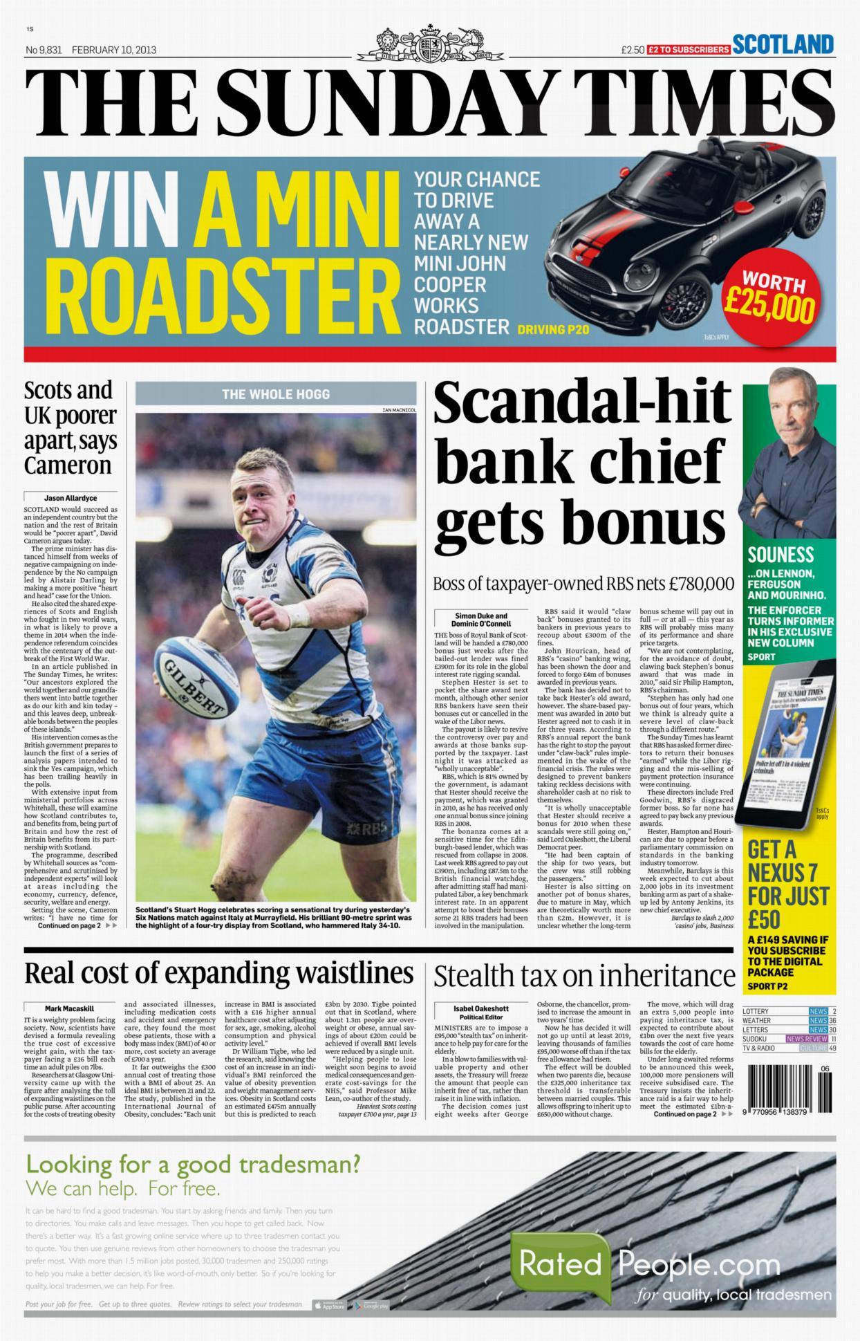 Sunday Times - Stuart Hogg